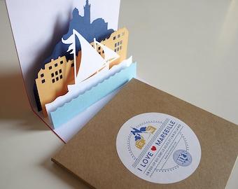 Pop-up Card - I Love Marseille - Creative Card Handmade, Limited Edition, Greetings Card, Invitation, Decorative Card