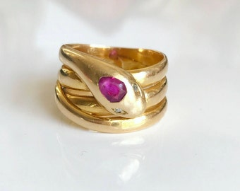 Sold:   Victorian Snake Ring with Ruby and Rose cut Diamonds