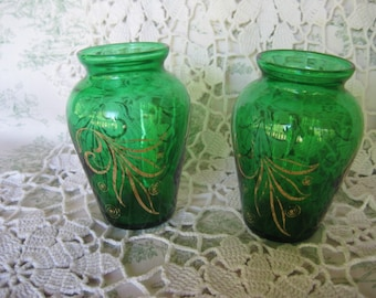 Vintage FOREST GREEN Mid-Century Small Vases Set of 2