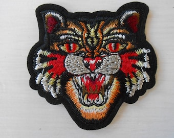 Iron-on Tiger Embroidered Patch Applique Set of 2