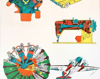 Science Education School Poster 1960s AJ Nystrom Machines Motors engines airplanes cars Friction Oil Ball Bearings