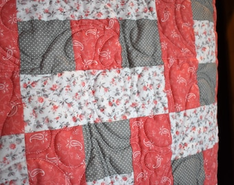 Lap quilt or modern baby quilt, READY TO SHIP, baby blanket, pink, coral and gray, Free Shipping
