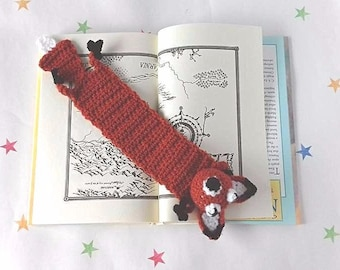 Fox Bookmark, Squashed Fox, Gag Gift, Gift for a Bookworm, Crochet Fox, Unique Bookmark, Kids gifts,Cute Bookmark