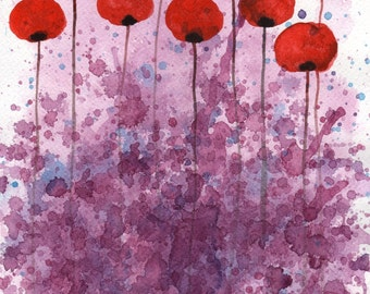 Watercolor Painting: Watercolor Flower Painting -- Art Print --  Dance, Dance -- Red Flowers  -- 11x14