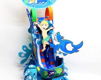 Summer birthday, Splash party, Water slide, Splash birthday, Pool party Birthday, Beach party, cake topper,  Birthday cake topper