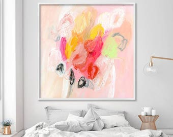 Pink Abstract Painting Giclee Print Large Art floral painting white yellow red nursery decor gift for her