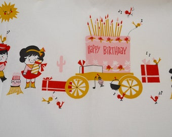 Vintage Birthday Paper Tablecloth: Western Theme with Cowboy and Cowgirl