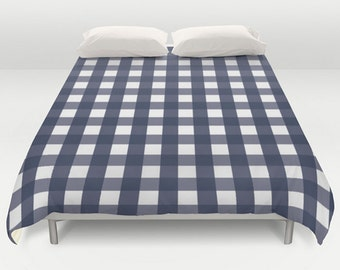 Box Check Comforter, Blue Bedding, Queen King Full Twin, Size, Plaid Duvet Cover, Buffalo Check Pattern, Buffalo Navy Duvet, Navy Bedspread