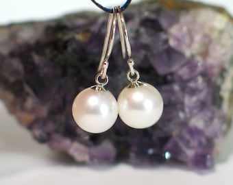 14k White Gold Pearl Earrings | 8mm Freshwater White Pearls | Vintage Style Pearl Earrings | Everyday Pearl | Birthday Gift | Ready to Ship