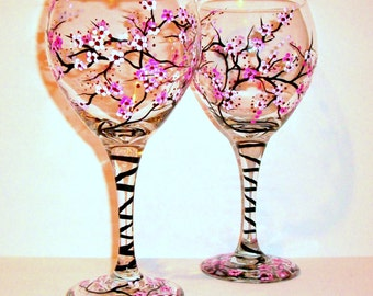 Hand Painted Wine Glasses Cherry Blossoms Set of 2  - 20 oz Glassware Home Decor Wedding Anniversary Gift Maid of Honor Gift for Her