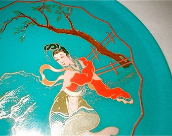 Vintage Blue Lacquerware Tray - Made in Taiwan China - Hsiu Ang Lacquerware Products Co.
