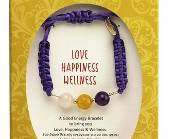 Gemstone Jewelry, Amethyst, Citrine, Rose Quartz Bracelet with gemstones beads, Bracelet for Love Happiness, Wellness