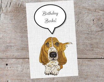 Basset hound cards etsy cute dog birthday card basset hound birthday card happy birthday card cards for bookmarktalkfo Gallery