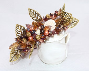 Beaded headband with leaves,beaded handmade tiara, Purple beaded Crown