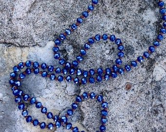 Necklace Crystal Knotted Boho Long Dark Blue Mix and Match