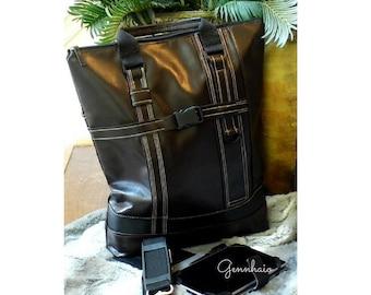 Vegan Leather Unisex Brown/ Black Laptop Bag, Vegan Backpack, Shoulder Bag, Computer Tote Bag, Faux Leather Bag, Tote Handbag, Computer Bag
