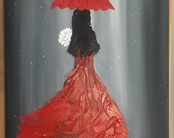 Lady in Red - Acrylic Painting 11x14