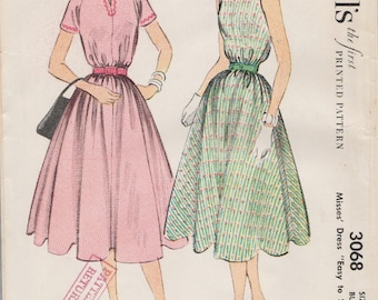 McCalls 3068 / Vintage 50s Sewing Pattern / Dress Sundress / Size 16 Bust 34