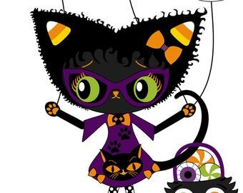 Black kitty Halloween ghosts bat 4x6