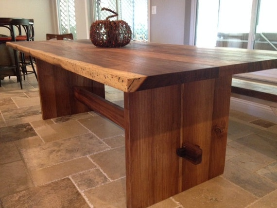 Natural Edge Dining Table With Steel Trestle Custom: Solid Wood Slab Trestle Table Live Edge Made From Exotic