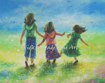 Three Sisters Art Print, three girls, three daughters, three brunette girls, girls room wall art, meadow, sisters wall art, Vickie Wade Art