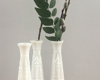 Vintage Milk Glass Vase Trio