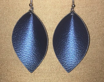 Pinched Earrings, Faux Leather Earring, Leather Teardrop, Novelty Earrings, Pebbled Leather, Sapphire Color, Pinched Teardrop, Fake Leather