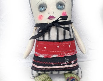 Painted Cloth Doll - Gift for Her - Art Doll - Gift for Girls - Nursery Décor Girls - Cute Doll - Ragdoll - SKU10