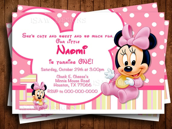 Baby minnie mouse digital personalized invitations minnie like this item filmwisefo Choice Image