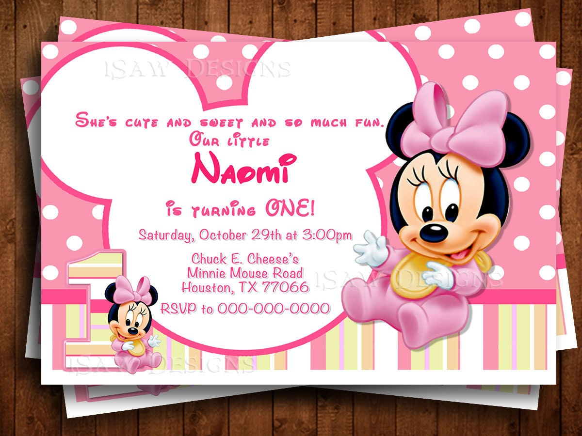 BABY MINNIE MOUSE Digital Personalized Invitations Minnie
