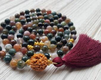 Alignment Mala Beads 108 Mala Beads 108 Mala Necklace Mala Prayer Beads Yoga Tassel Necklace Indian Agate Rudraksha Mala Beads Knotted Mala