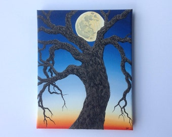 Twilight Creepy Tree - Oil Painting