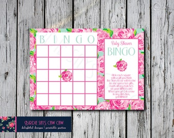Lilly Pulitzer First Impression Printable Baby Shower BINGO Party Game