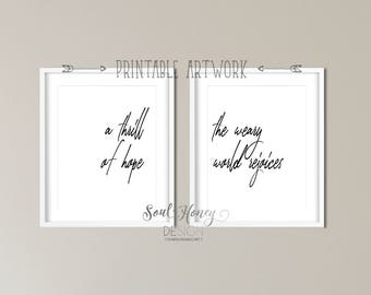 Downloadable Prints | A Thrill of Hope The Weary World Rejoices | Set of 2 Prints | Wall Art | Christian Hymn Typography | Instant Artwork