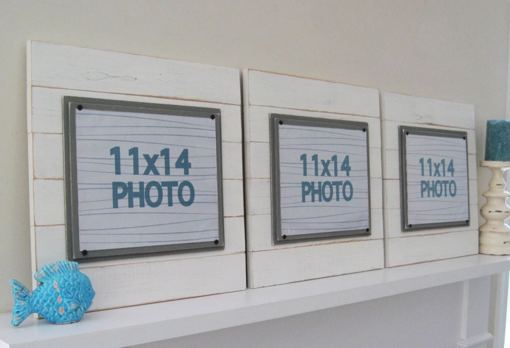 Set of Three XTRA LARGE Antique White Plank Frames for 11x14