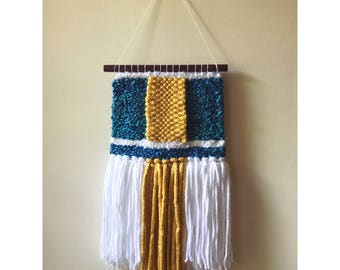 Gold & Teal Woven Wall Hanging