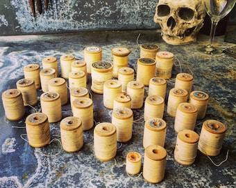 Wooden Spools / Ivory Cotton Thread / 30 Spools