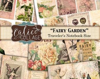 Travelers Notebook, Fauxdori Inserts, Printable, Journal Kit, Fairy Garden, Fairy Journal, Fairy Ephemera, Ephemera Pack, TN Junk Journal