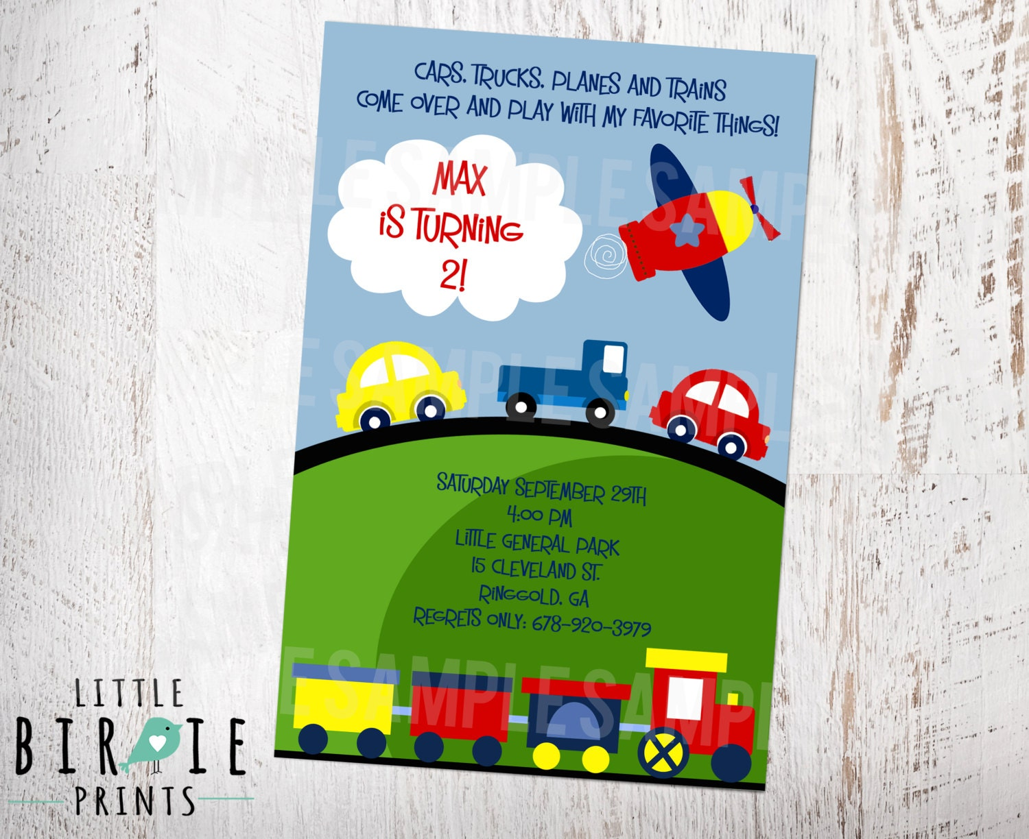 PLANES TRAINS and Automobiles Primary Color Invitation for