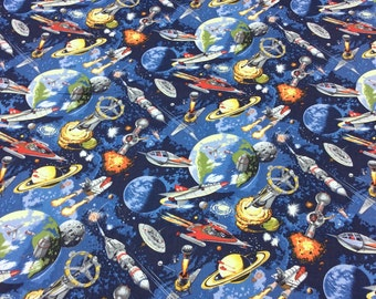 Patchwork Quilting Fabric Nutex Space Odyssey 101 Space Ships