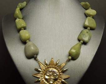 """Estate Roman Style 925 Gold over Sterling Silver Sun Dial Medallion & Celadon Jade Bead Necklace 16.25"""""""