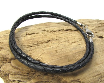 Black Braided Leather Cord Necklace, 3mm Leather Cord Necklace, Custom Length Braided Cord Necklace, Bolo Cord, Item 972n