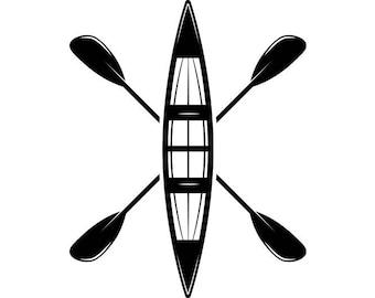 Kayak Logo 4 Kayaking Canoe Whitewater River Rafting Water Paddle Ore Row Rowing SVG