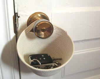 "Small Hanging Basket - Hanging Organizer - Key & Coin Holder - Door Knob Organizer The ""KNOB FOB"" - Door Handle Hanger"