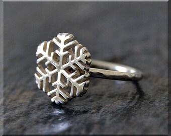 Snowflake Stacking Ring, Sterling Silver Ring, Stacking Jewelry, Snowflake Jewelry, Holiday Stackable Ring, Winter Ring, Layering Ring