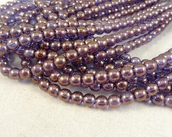 Purple Luster Czech Beads, 6mm Czech Glass Beads, 6mm Ultra-Violet Beads, Bronze Illusion Round Beads (FP6/SM-04415) - Qty. 50