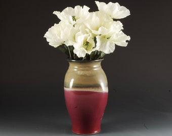 Pottery Vase Handmade Stoneware Plum Red and Brown by Mark Hudak