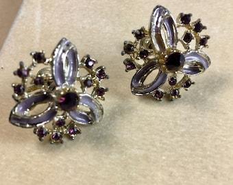 Floral Motif Enamel Earrings-Dark Red Rhinestones Silver Tone Vintage