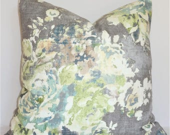 AS SEEN on The BACHELOR Taupe Grey Sage Green Blue Ivory Floral Pillow Cover Decorative Home Decor Size 20x20 22x22