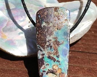 Boulder Opal Blue Purple Bead raw gemstone in matrix necklece